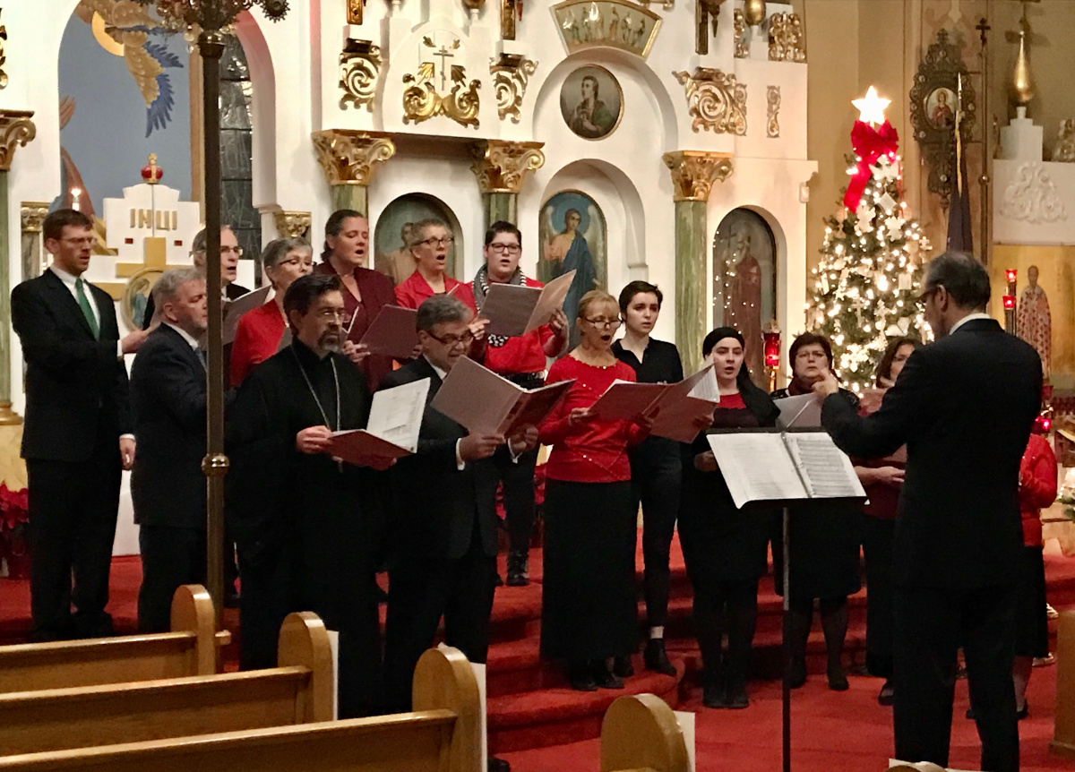 OCA Christmas concert, singers in front of elaborate iconostasis