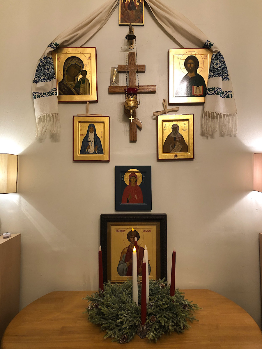 Home icon stand, ready for Advent, Orthodox Church in America