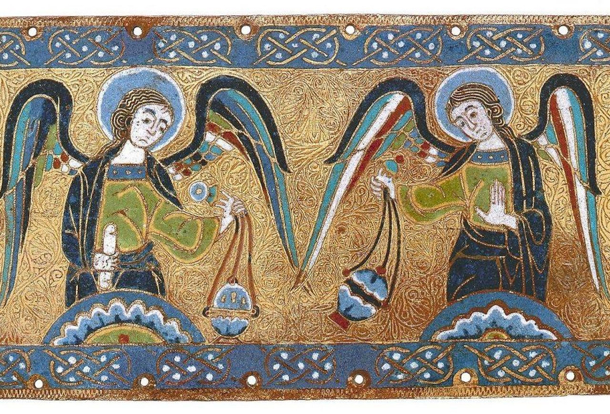 Mosaic of two angels swinging censors